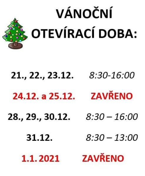 Vánoční provozní doba naší prodejny