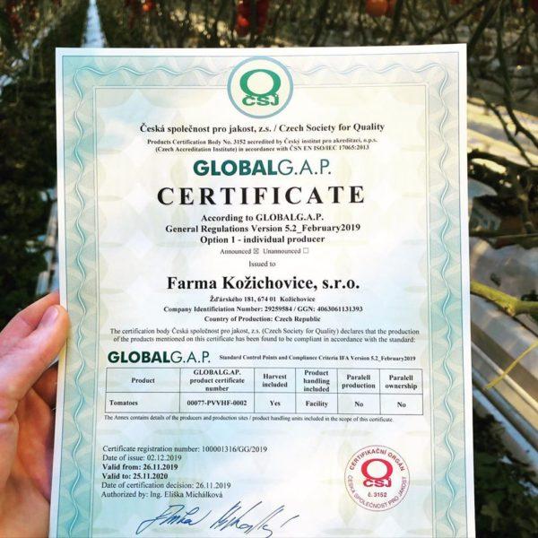 Získali jsme certifikaci Global Gap